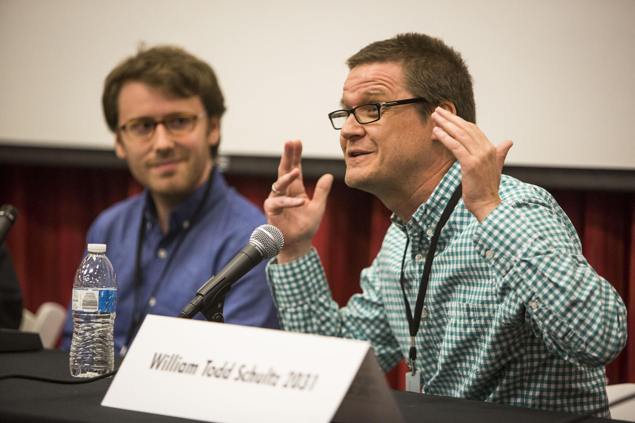 """William Todd Schultz, right, and Ben Tarnoff at the """"Art as Influencer"""" panel at the Los Angeles Times Festival of Books"""