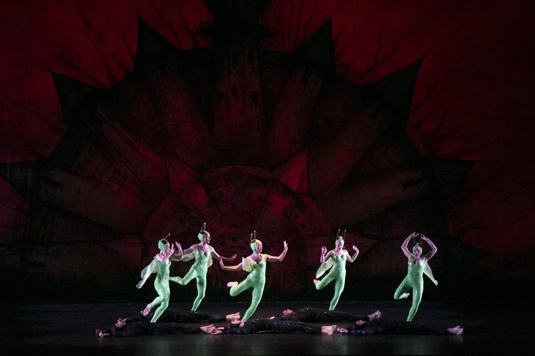 "The Paul Taylor Dance Company's ""Gossamer Gallants"" on Saturday at the Dorothy Chandler Pavilion in Los Angeles featured had predatory bug-women flexing their muscles and men playing brainless bug-jocks in winged black costumes."