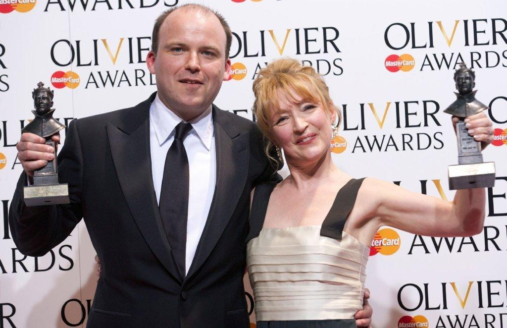 Rory Kinnear and Lesley Manville with their Olivier Awards on Sunday at the ceremony at London's Royal Opera House.