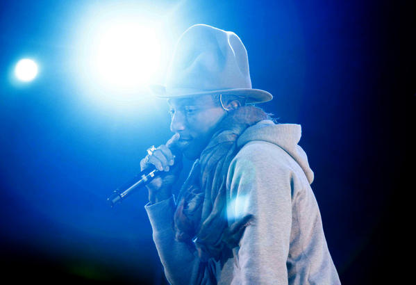 Pharrell Williams performs Saturday night at the Coachella Valley Music and Arts Festival in Indio.