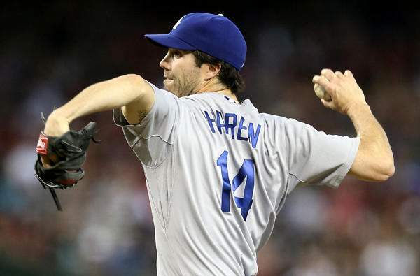 Dodgers starting pitcher Dan Haren only lasted 5 2/3 innings against the Diamondbacks on Sunday, giving up nine hits and three runs while throwing 110 pitches.