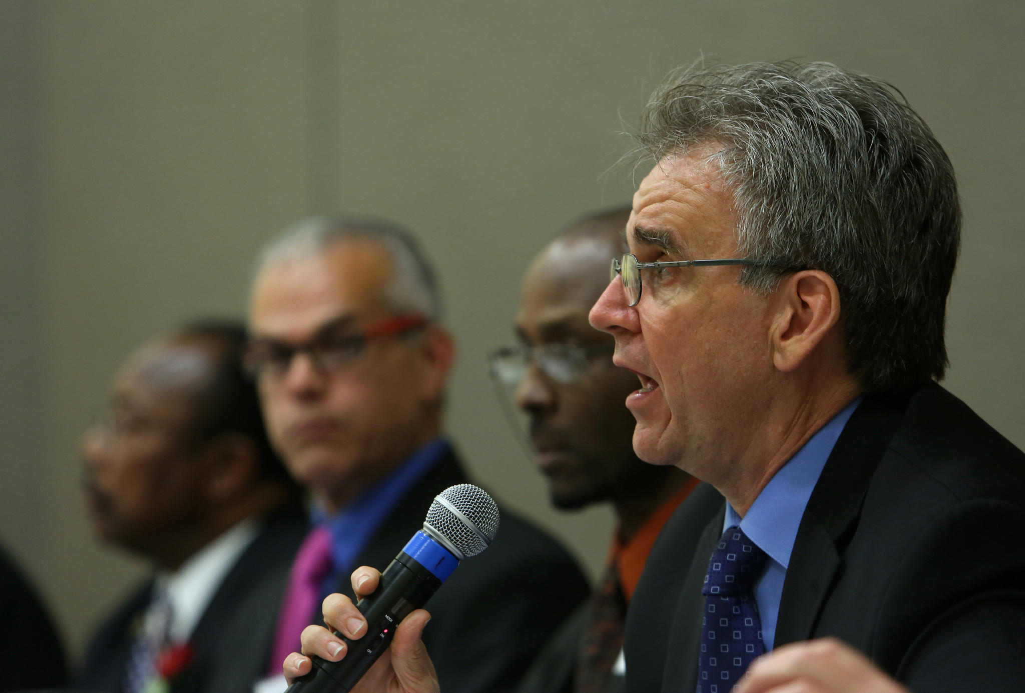 L.A. teachers union president Warren Fletcher, seen here at a candidates' forum, has ended his active campaigning for reelection.