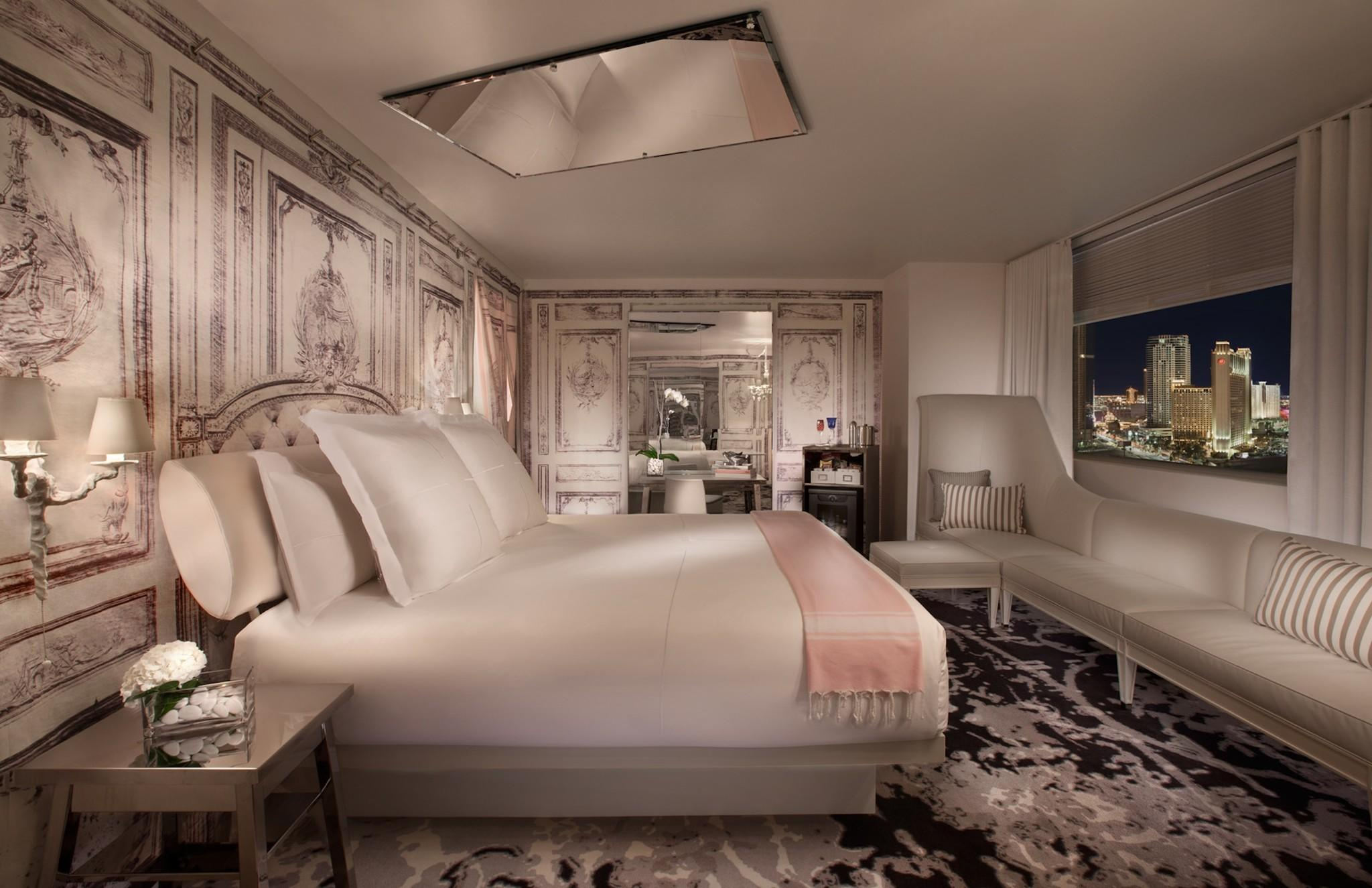 An artist's rendering of a king room at the SLS Las Vegas Hotel & Casino, where a special deal has weekday rates as low as $109 a night.