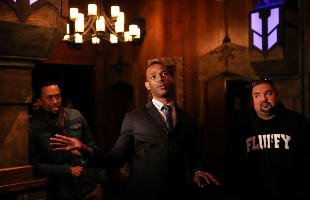 (L to R) Actors Affion Crockett, Marlon Wayans and Gabriel Iglesias take a tour of Castle nightclub April 1, 2014.