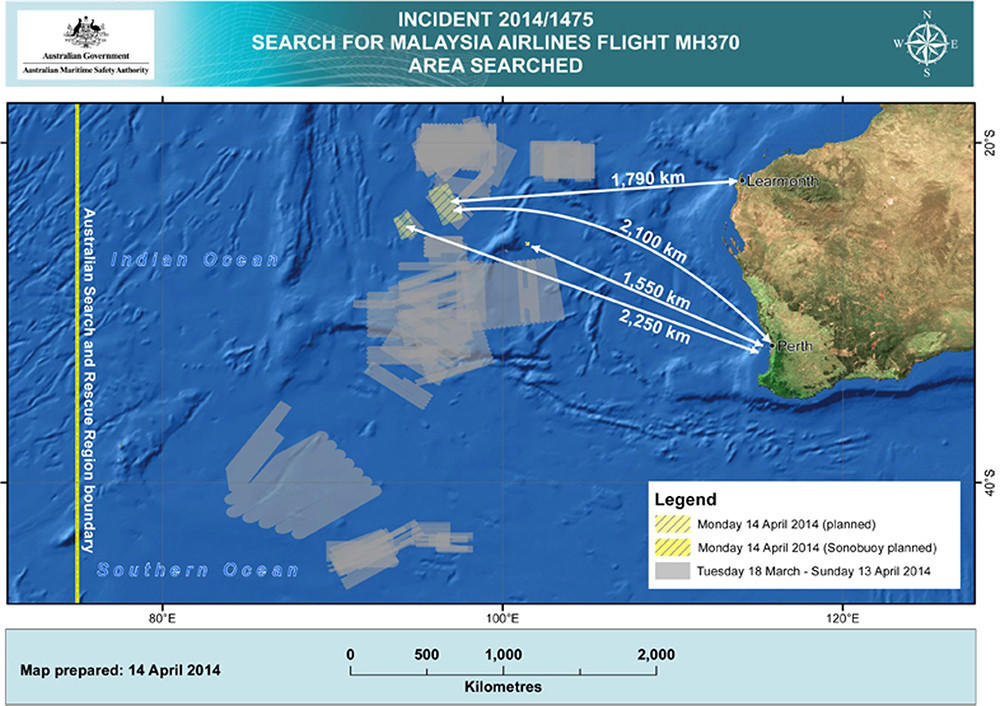 A handout image released by the Australian Maritime Safety Authority in Canberra, Australia, on April 14 shows the current planned search area in the Indian Ocean, West of Australia, for the wreckage of Flight MH370.