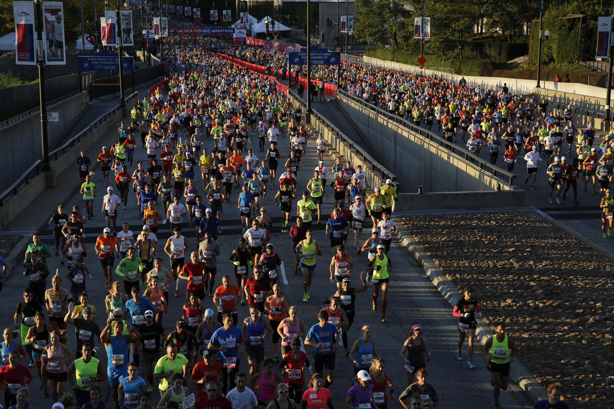 The start of the 2013 Bank of America Chicago Marathon on Sunday, Oct. 13, 2013.
