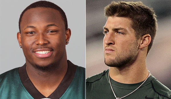 Philadelphia running back LeSean McCoy, left, apparently doesn't think Tim Tebow was much of an NFL quarterback.