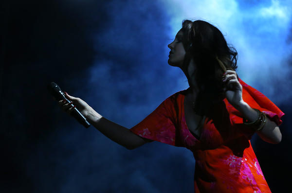 Lana Del Rey performs Sunday night at the Coachella Valley Music and Arts Festival in Indio.