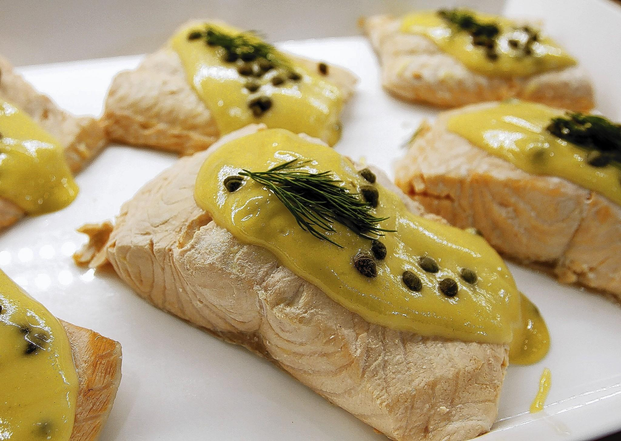 The poached salmon with dijon mustard sauce from Gelson's Market in La Cañada Flintridge on Thursday, April 10, 2014.