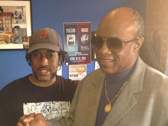 Stevie Wonder with The Land of Kush owner Greg Brown.