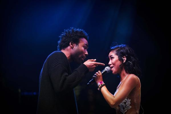 Childish Gambino guest performs with Jhene Aiko on the Gobi stage at the Coachella Valley Music and Arts Festival in Indio on Sunday, the last day of the first weekend of the festival.