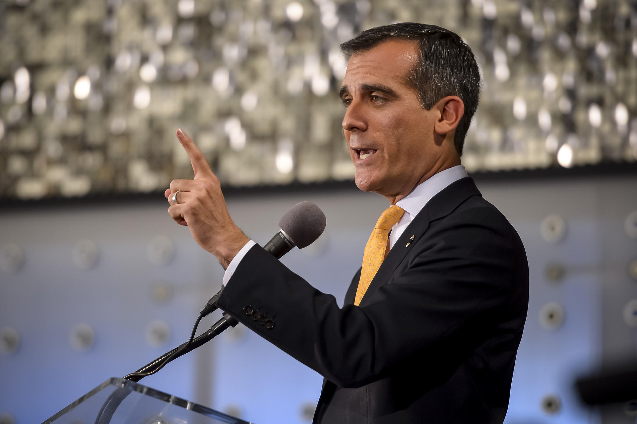 Los Angeles Mayor Eric Garcetti delivers his first State of the City address.