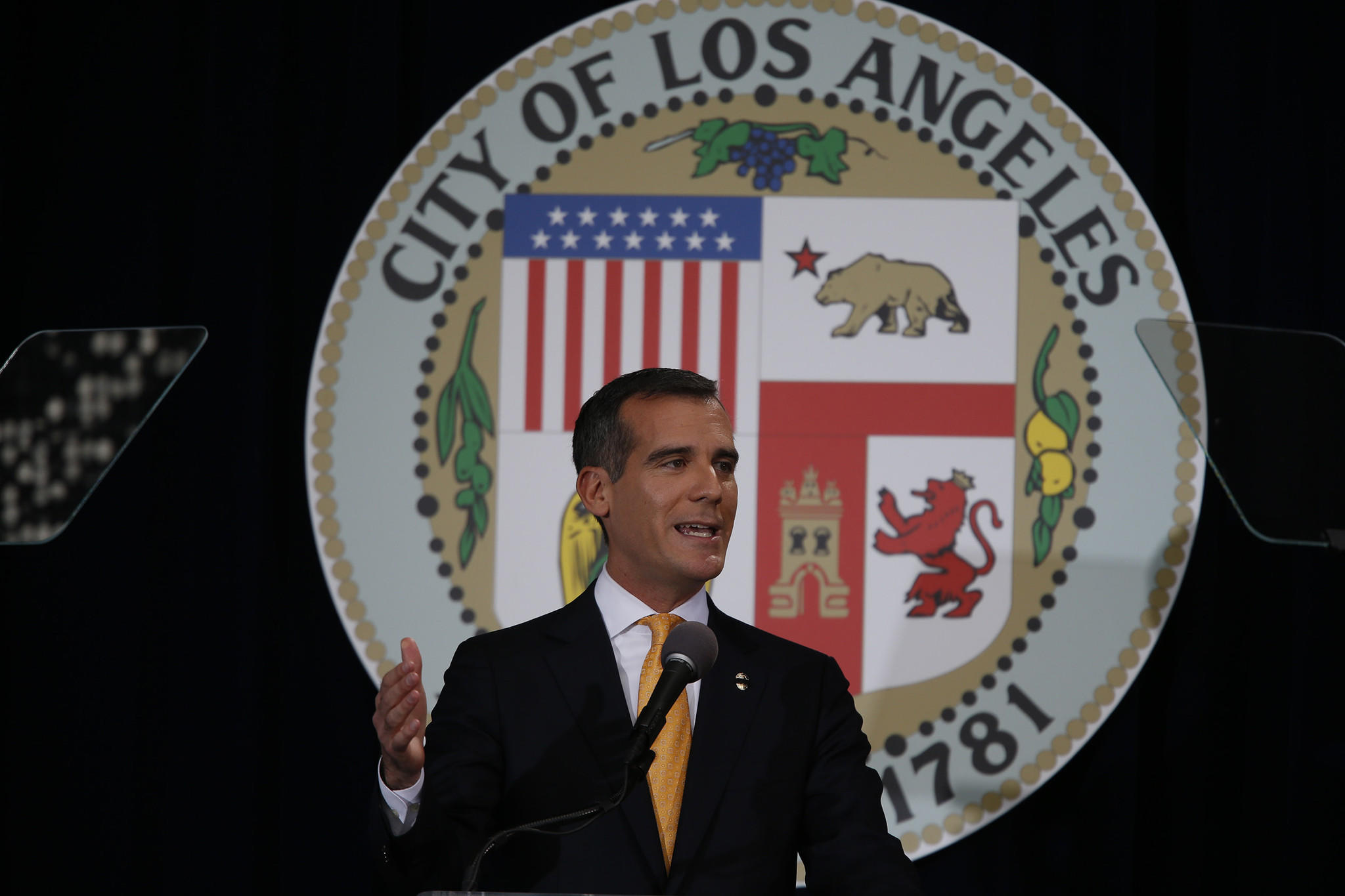 L.A. Mayor Eric Garcetti delivers his first State of the City address Monday.