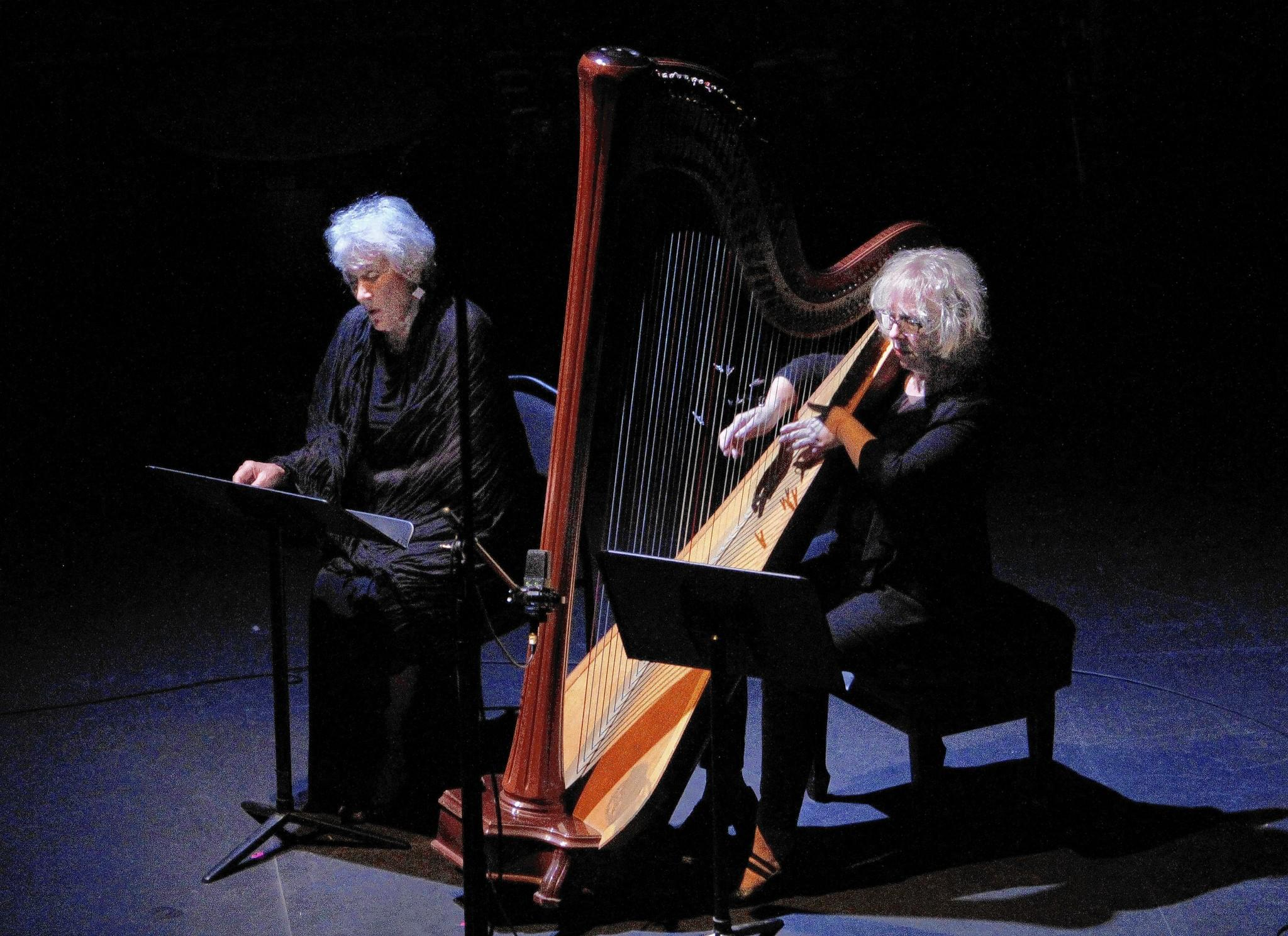 "Lucy Shelton, left, and Anne LeBaron perform LeBaron's omposition, ""Scene From Psyche & Delia."""