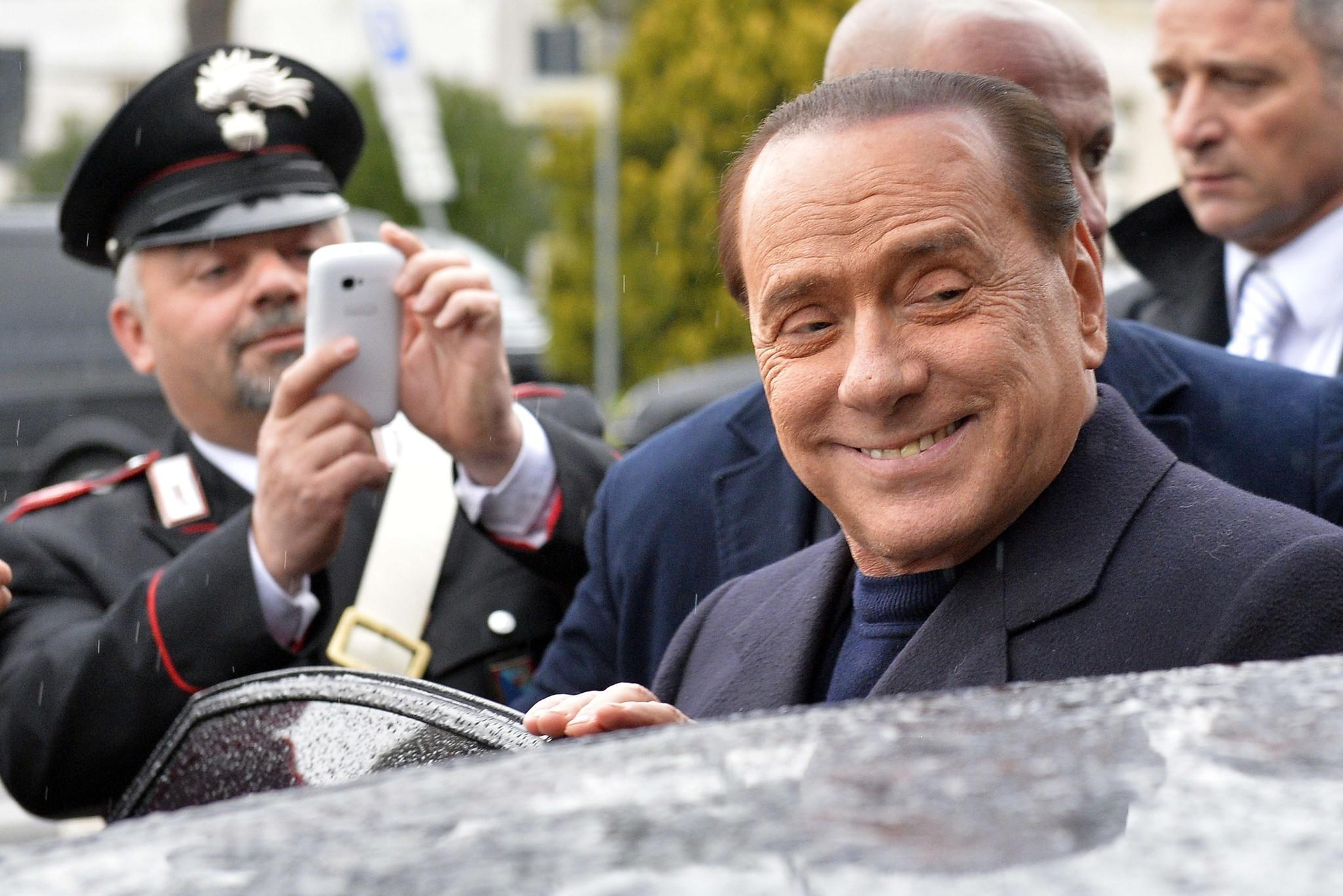 Former Italian Prime Minister Silvio Berlusconi at a Rome airport.