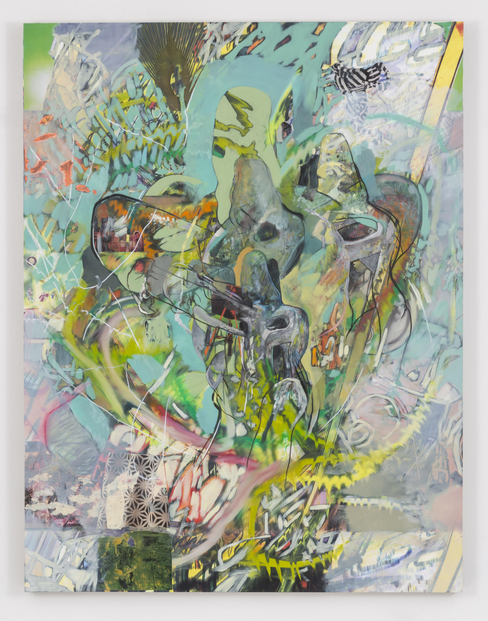 "Elliott Hundley, ""It will end."" (2014), inkjet print, oil and paint and paper on linen, 78 inches by 60 inches by 2 inches"
