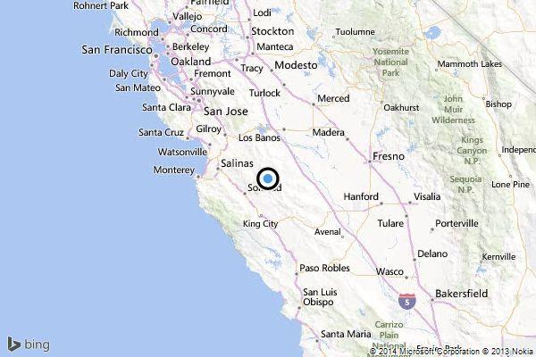 A map showing the location of the epicenter of Tuesday morning's quake near Soledad, Calif.