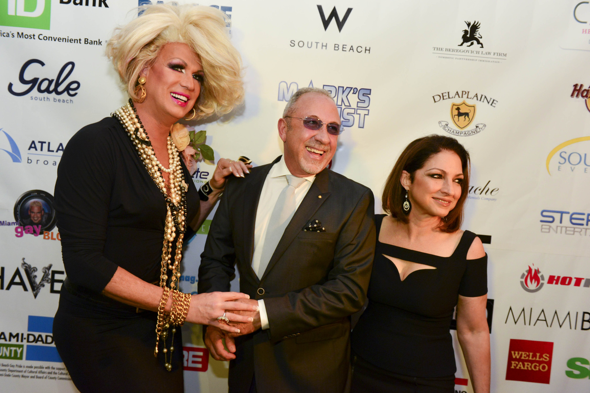 Celeb-spotting around South Florida - Drag diva Elaine Lancaster with Emilio and Gloria Estefan