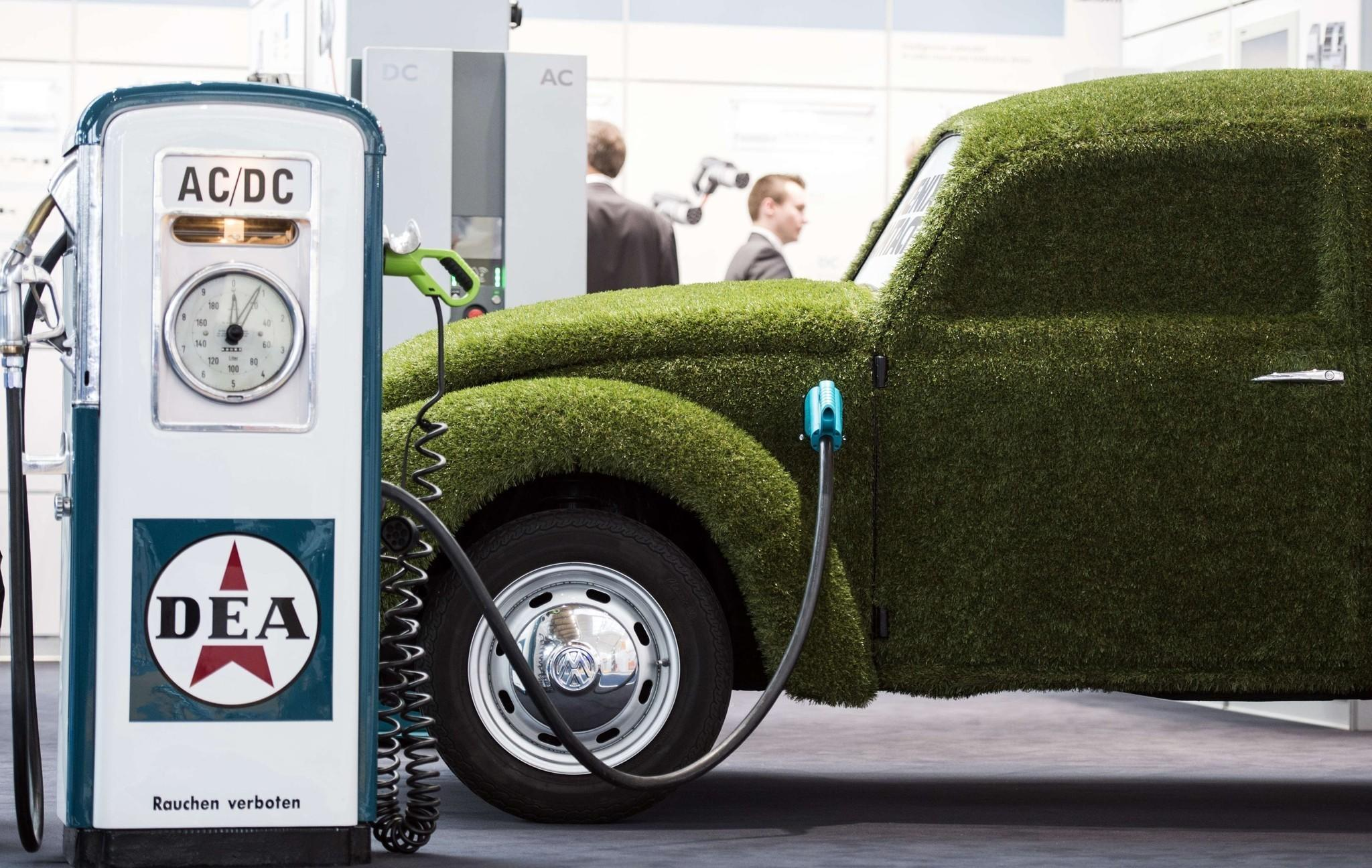 Even a grass-covered electric VW beetle needs recharging now and then.