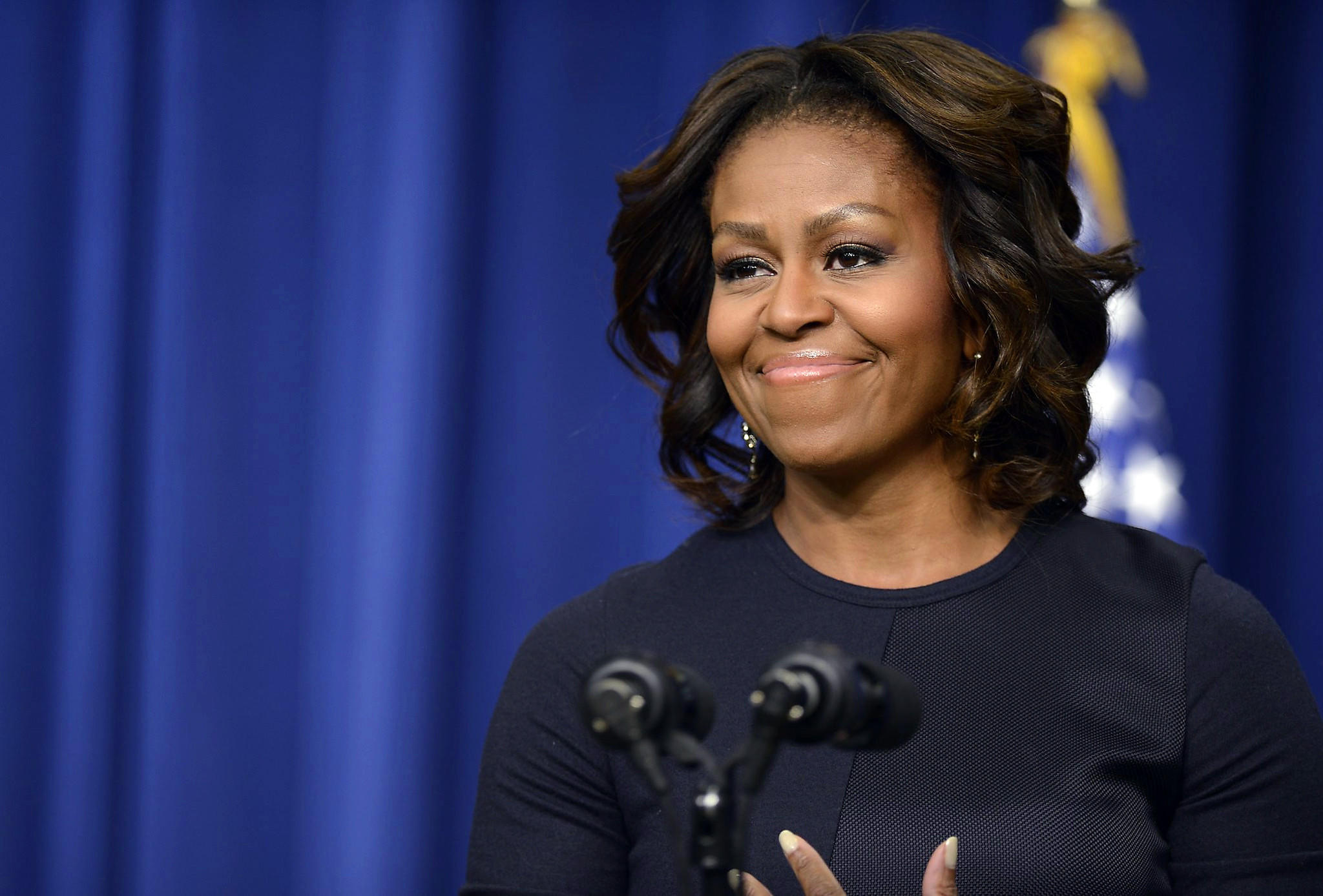 Michelle Obama speaks at an event in Washington, D.C.