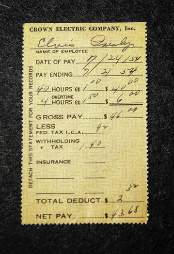 Elvis' pay stub