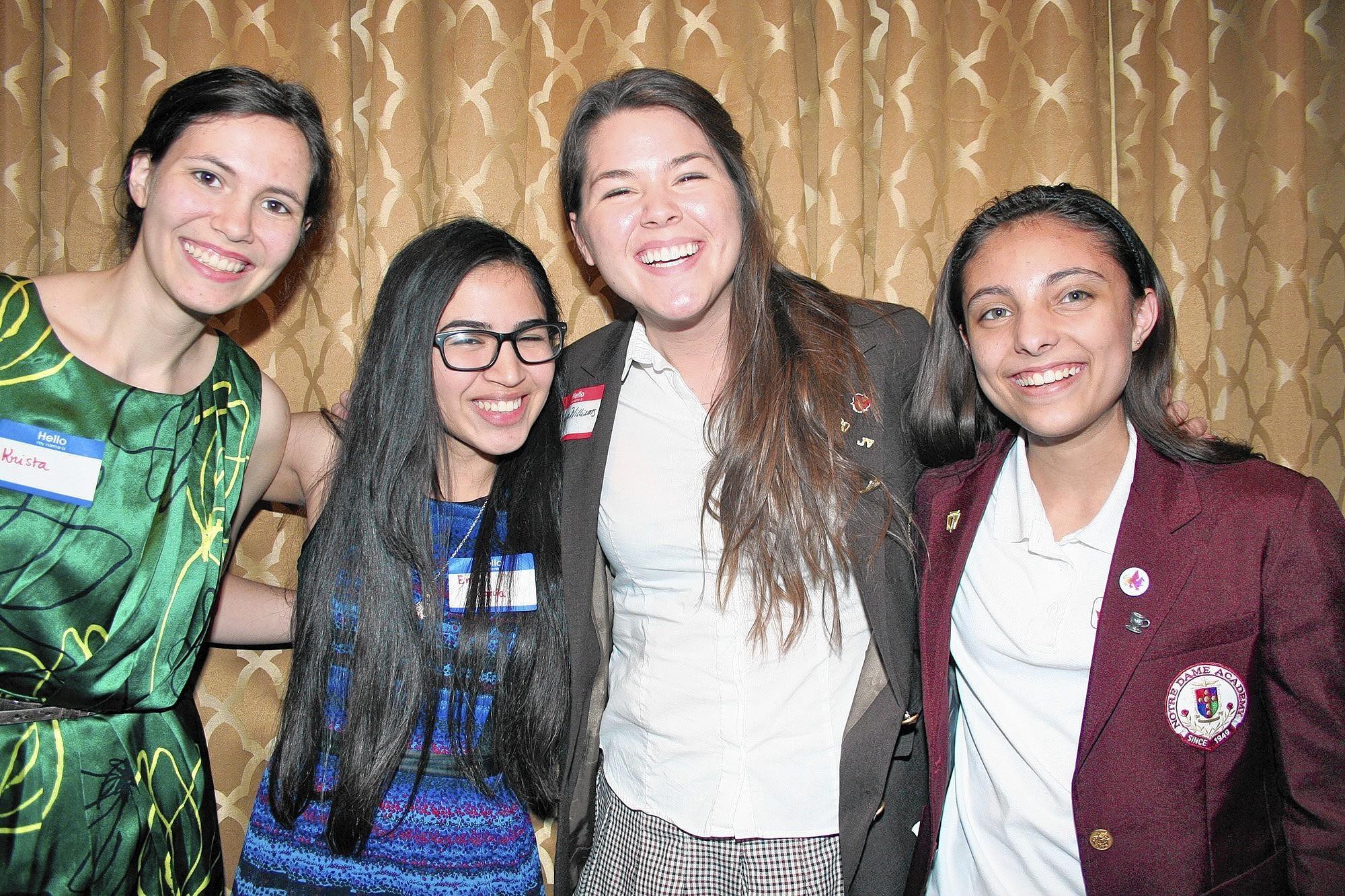 Cabrini Literary Guild writing awardees, from left: Krista Gelev, Emily Garcia, Sonya Williams and Katherine Irajpanah.