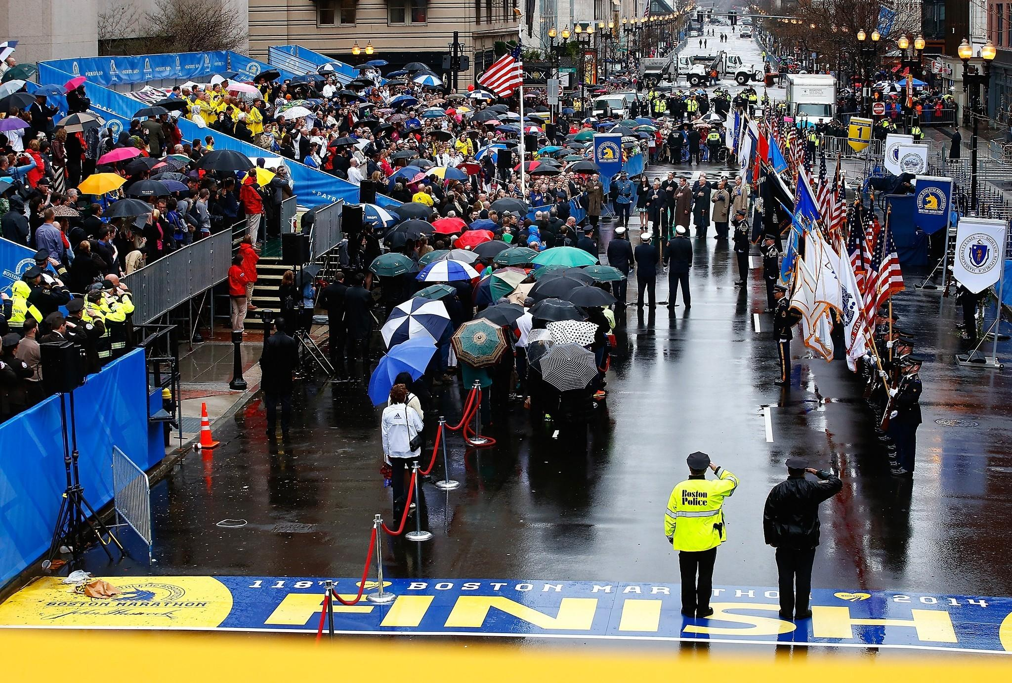 Former Boston Mayor Thomas Menino, current Mayor Martin Walsh, Vice President Joe Biden and Gov. Deval Patrick were among those who gathered to commemorate the first anniversary of the Boston Marathon bombings near the finish line on Boylston Street.