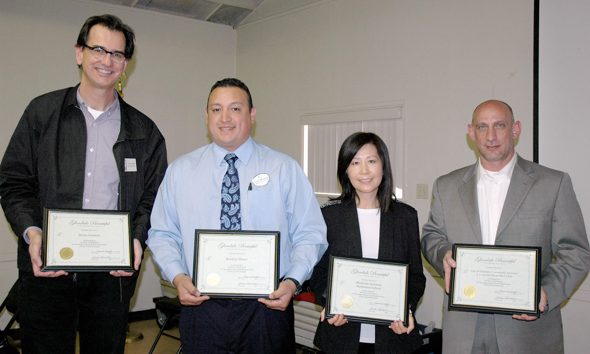 Glendale Beautiful award recipients are, from left, Timothy Sales for Doran Gardens; Carlos Monarrez for Windsor Gardens; Sharon Lee for Montrose Christian Montessori School; and Michael Fortney, representing the city of Glendale Community Services & Parks for Doran Mini Park.