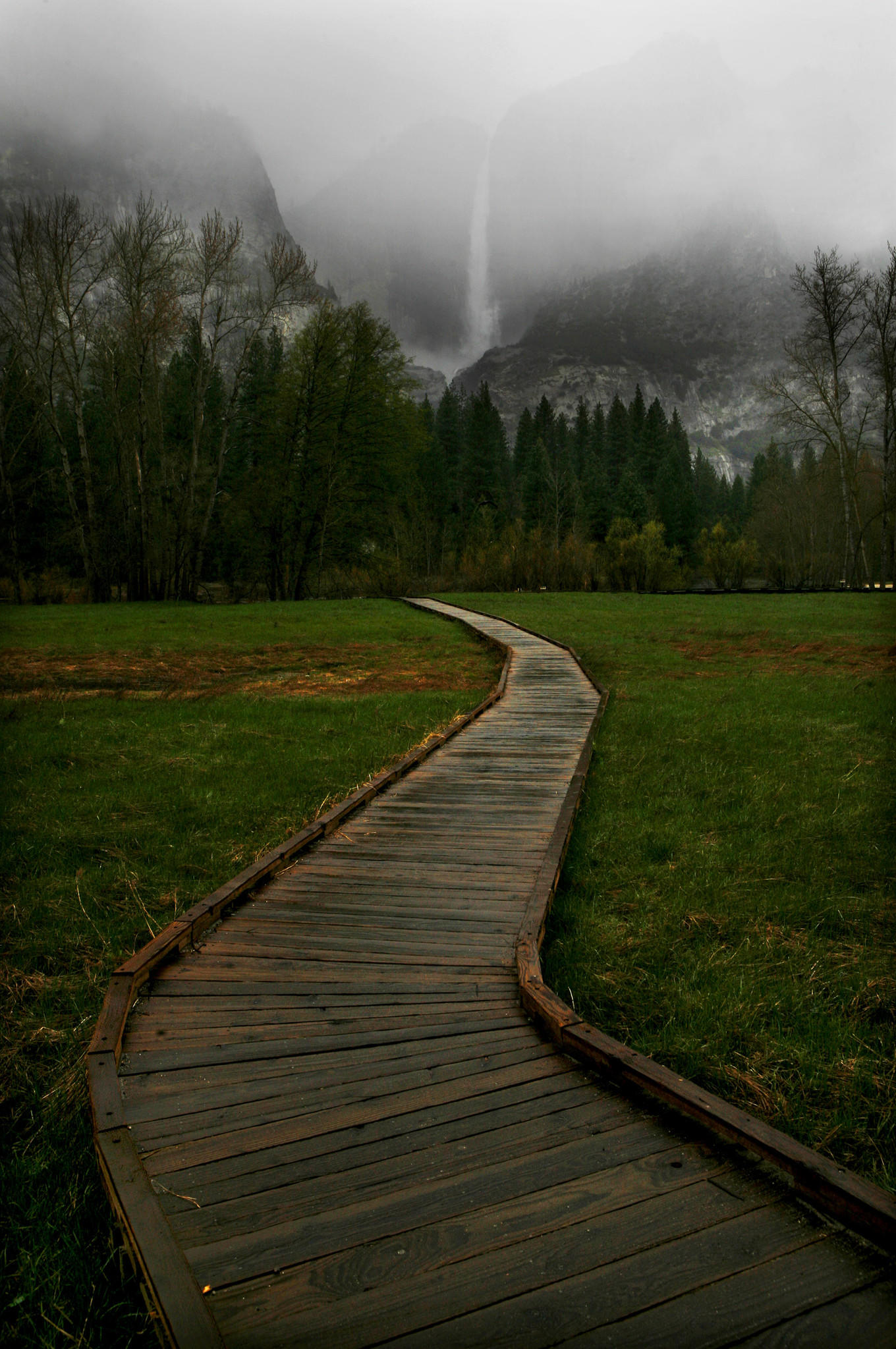 The mist -- the scent of which is captured in a new air freshener -- on the falls near the wooden walkway traversing Sentinel Meadow in Yosemite Valley.
