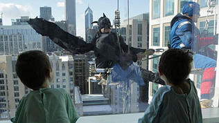 Superhero window washers descend on Lurie Children's Hospital