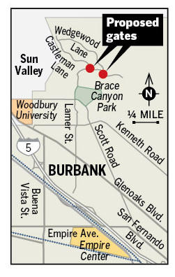 Proposed gate locations in Burbank Hills neighborhood.