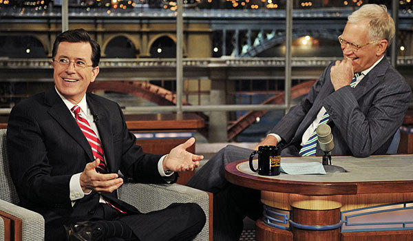 """Stephen Colbert makes an appearance on """"Late Show"""" in 2012. He'll be back on the program on Tuesday."""