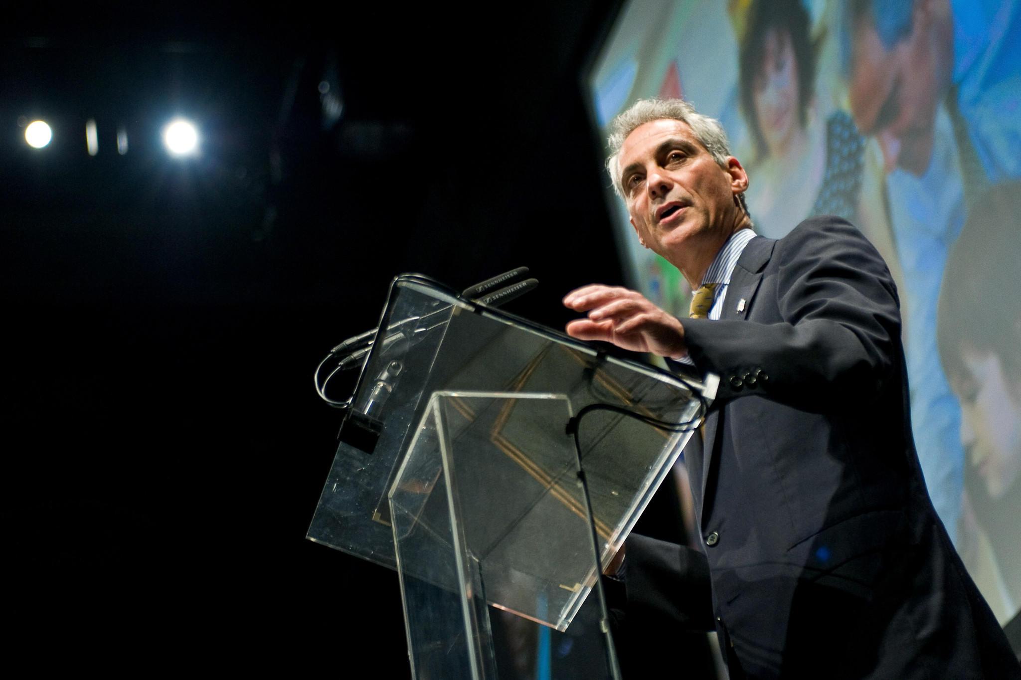 Mayor Rahm Emanuel attends the 2012 Carl Sandburg Literary Awards dinner at University of Illinois at Chicago Forum October 2012.