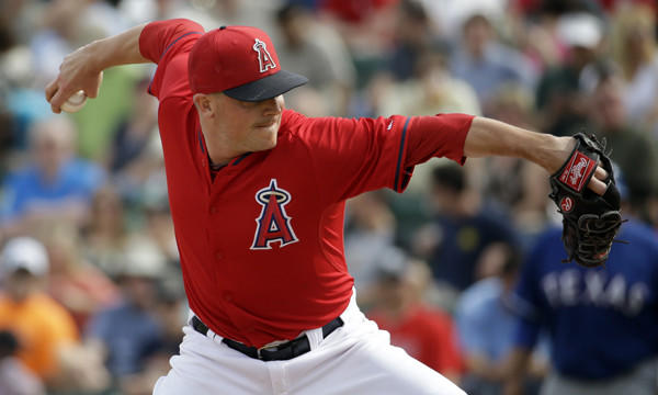 Angels reliever Joe Smith throws during an exhibition game against the Texas Rangers.
