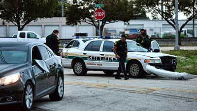 Three Broward Sheriff's Office vehicles damaged during pre-dawn arrest