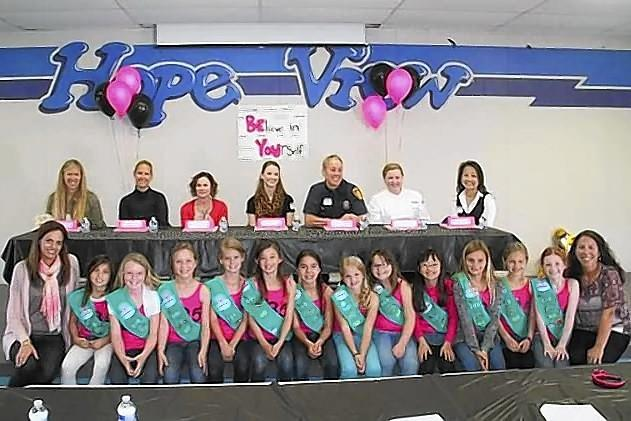 "Girl Scouts Junior Troop 535 from Huntington Beach ran a ""Women in Leadership"" panel at Hope View School."