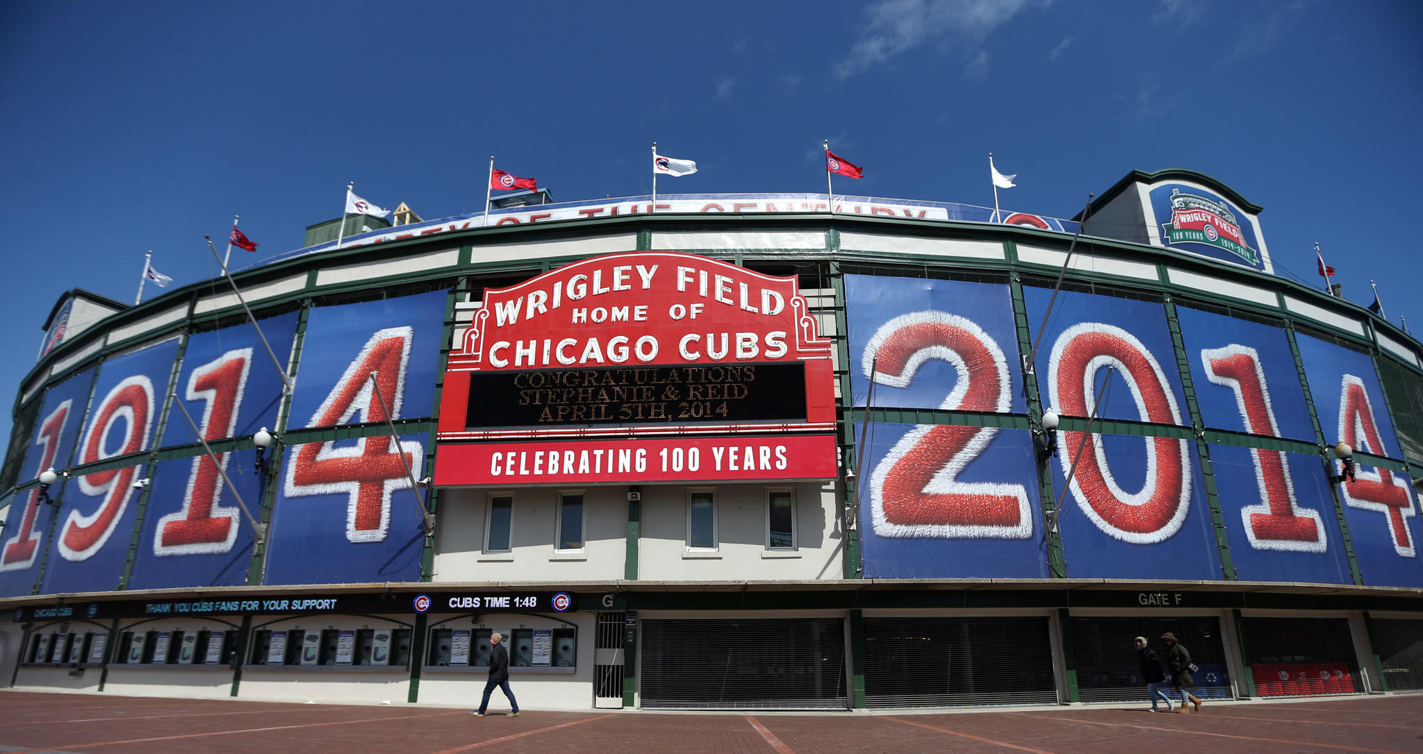 The corner of Sheffield and Addison is prepared on Tuesday, April 1, 2014 for the home opener at Wrigley Field.