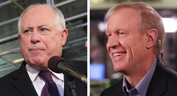Gov. Pat Quinn, left, and his Republican challenger, Bruce Rauner.