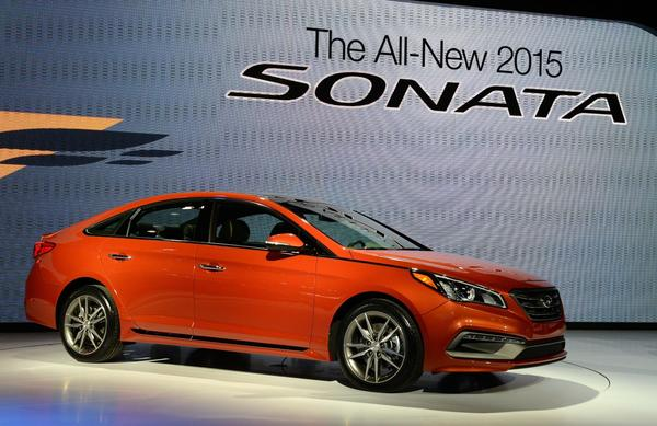 The 2015 Hyundai Sonata is unveiled April 16, 2014 at the Jacob Javits Center in New York.
