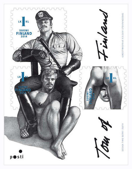 "A stamp to be released in Finland featuring the work of ""Tom of FInland,"" a noted Finnish artist who often focused his work on subjects of gay erotica."