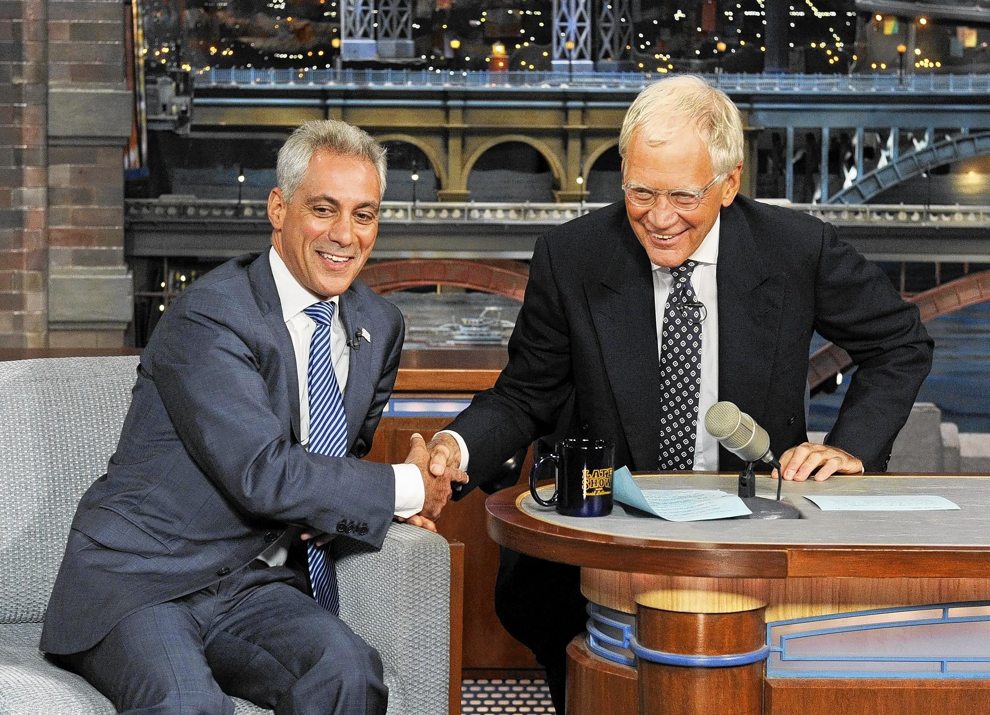 Mayor of Chicago Rahm Emanuel makes his first visit to the 'Late Show.'