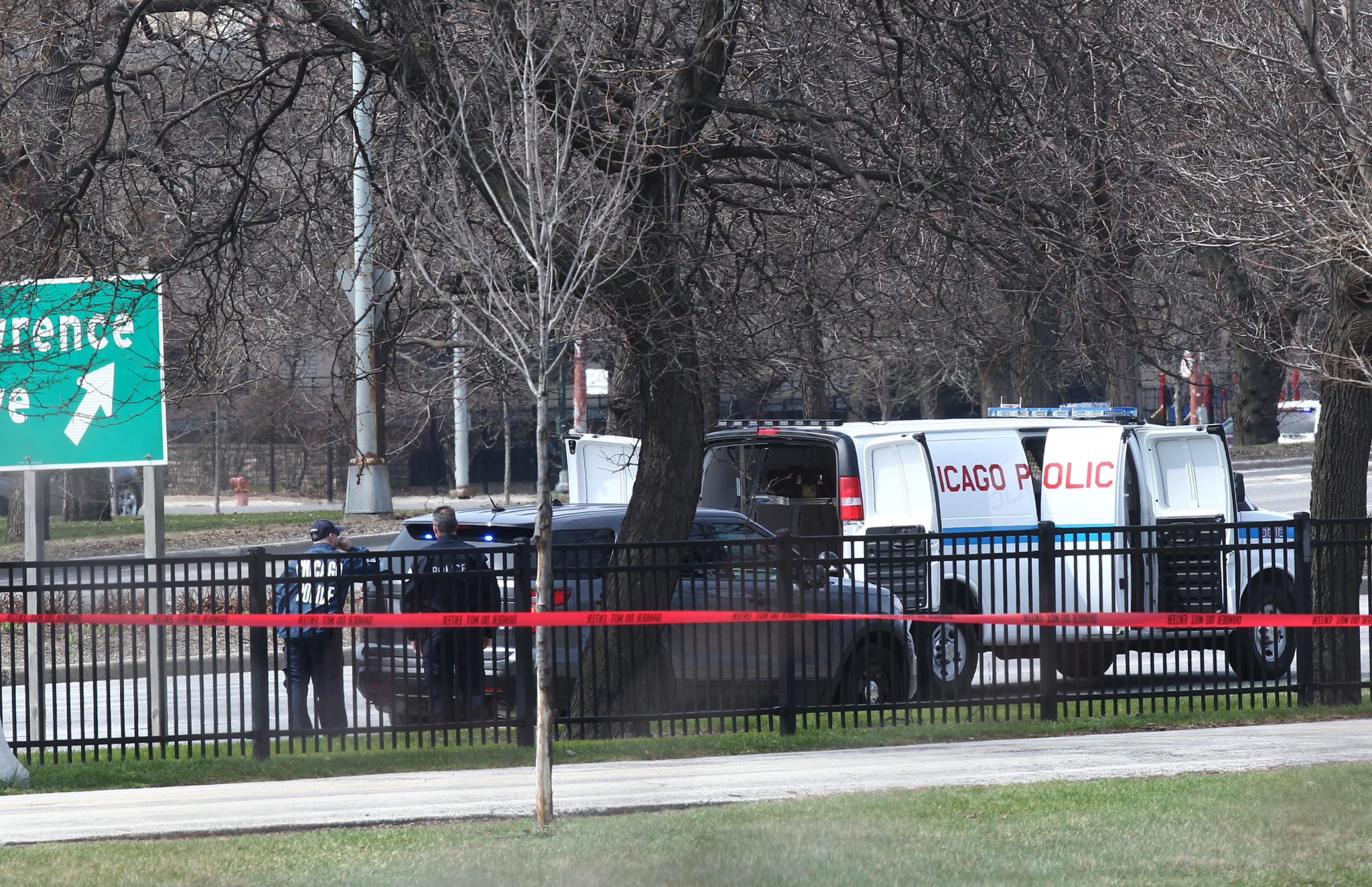 Chicago Police investigate the area along Lake Shore Drive that has been closed between the Wilson and Foster exits where a suspicious object had been found, officials said.