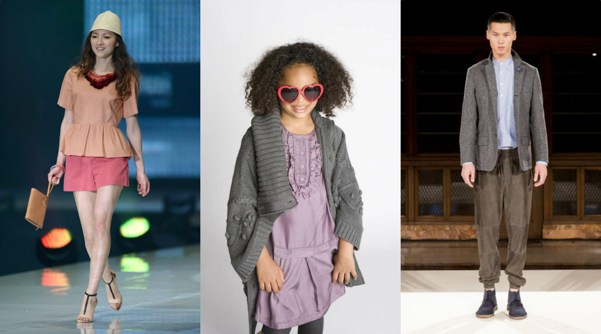 Looks from the Kate Spade, far left, and Jack Spade, far right, collections. The brands have collaborated with Gap for a kids line, following in the footsteps of designers like Diane von Furstenberg (2013) and Stella McCartney (2009, a piece from that collection is shown center) to move into childrenswear.