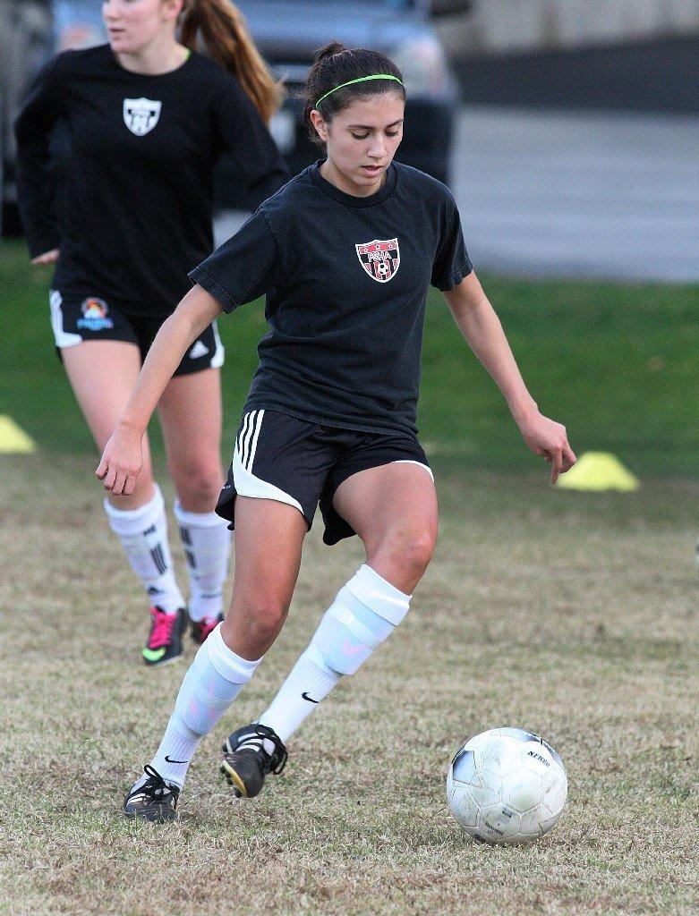 Flintridge Sacred Heart Academy's Sophia Saldivar was named to the All-Area Girls' Soccer Second Team. (Tim Berger/Staff Photographer)