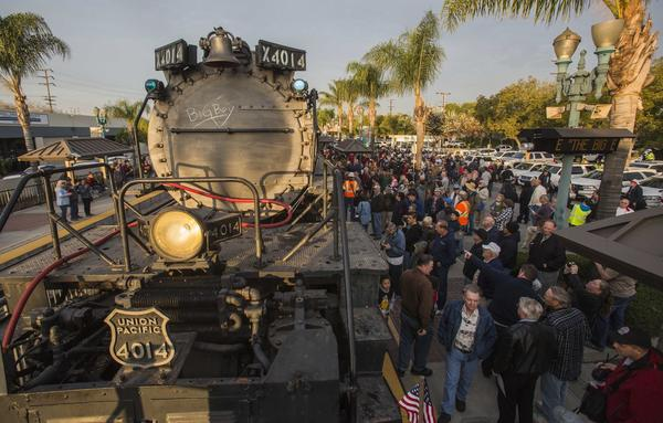 In this Jan. 26 file photo, spectators view the historic locomotive, Union Pacific Big Boy No. 4014 at Metrolink Station in Covina.