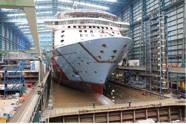 "Quantum of the Seas was ""floated out"" at the Meyer Werft ship yard in Papenburg, Germany. Photos taken April 7, 2014."