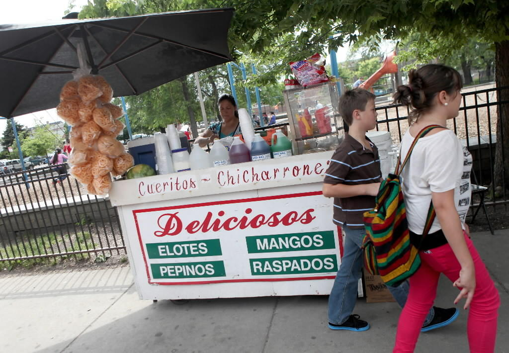 Maria Navarro sells cut fruit from a cart near Harrison Park in Chicago on June 3, 2012.