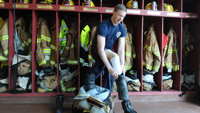 Volunteer firefighter returns to work after amputation