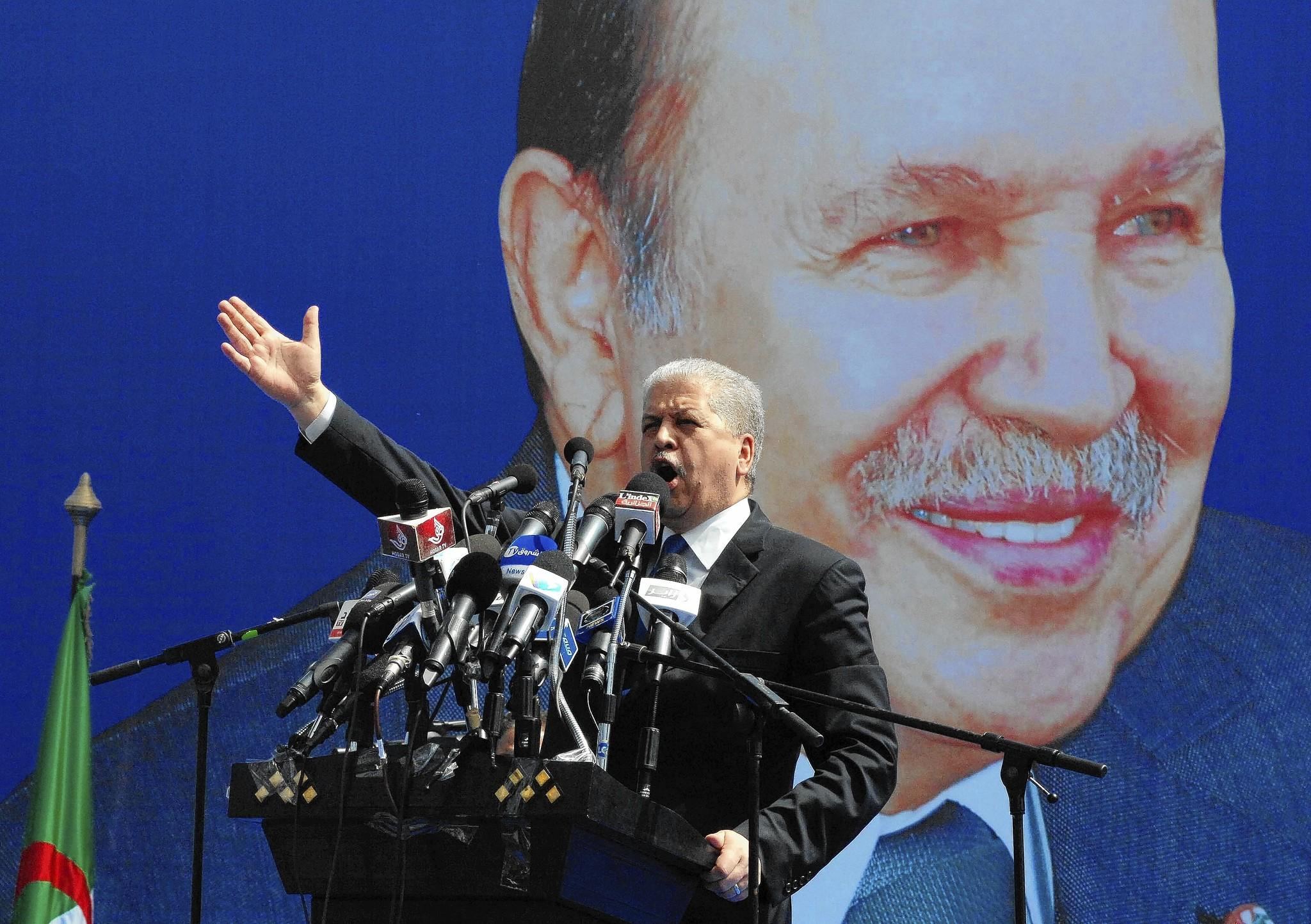The campaign manager for Algerian President Abdelaziz Bouteflika delivers a speech to supporters last week.
