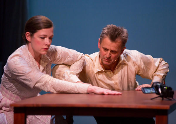 """Mikhail Baryshnikov and Tymberly Canale in """"Man in a Case"""" at the Broad Stage."""